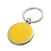 """Happy"" smiling metal key ring - packed in a black gift box."