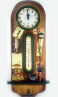 Wooden Wall Clock with Thermometer- Fishing Theme 16 * 44cms