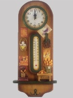 Wooden Wall Clock with Thermometer- Kitchen Theme 16 * 44cms
