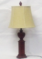 Wooden Desk lamp with Distressed J Bell shade - 69cm