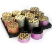 Set 12 Wooden Trinket Boxes - Multicolor