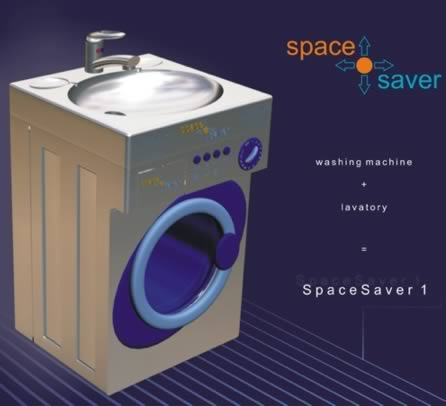 The Spacesaver: washing machine + sink