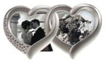 2 Heart Design Photo Frame - Silver Plated