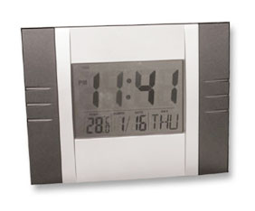 Slv & Blk Digital Wall mounted clock with calender + temp