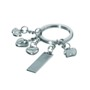 Charm - metal key chain with different smiling hearts - metal