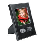 Luxurious photo frame in black with white stitching with clock,