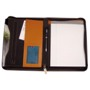 Deluxe real leather zipped conference folder A5 with writing pad