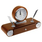 Elegant wooden desk set with drawer, 2 penholders, clock therome