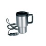 Stay-Hot Travel mug with 12 V car power facility