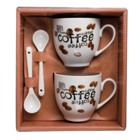 Porcelain coffee cup set with spoons in a gift box