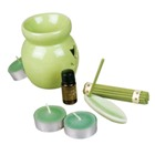 Ceramic Aroma Set with 3 candles, ceramic holder for incence sti