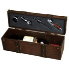 Treasure Chest. Wooden 4 piece wine set for singe bottle of wi