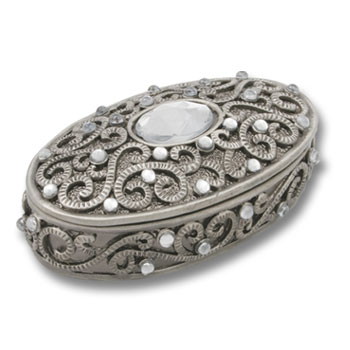 DIAMANTE TRINKET BOX  ROUND