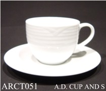 91592 Arctic White A.D Cup & Saucer - Min Orders Apply