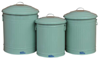 Set 3 Retro Garbage Can - Mint Green