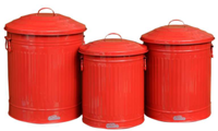 Set 3 Retro Garbage Can - Red
