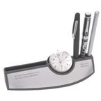 Mag Desk Clock With Pen & Card Holder - Silver