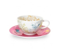 Portmeiron - Dawn Chorus Tea Cup/Saucer Pnk - Min Orders Apply