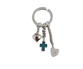 SILVER KEYRING WITH CHARMS