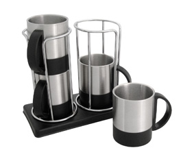 4 SS & BLACK MUGS IN STACKING STAND