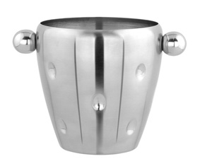 DIMPLED SILVER ICE BUCKET WITH HANDLES