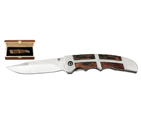 440 SS AND WOOD FOLDING KNIFE IN BOX