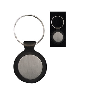 Silver Round With Black Plastic Frame Keyring Without Logo P