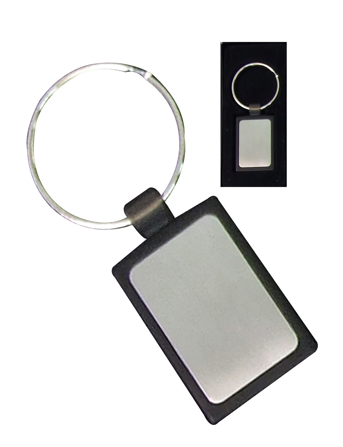 Silver Rectangular Keyring With Black Pu In Presentation Box