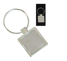 Silver Square Keyring Stripe Without Logo Plate