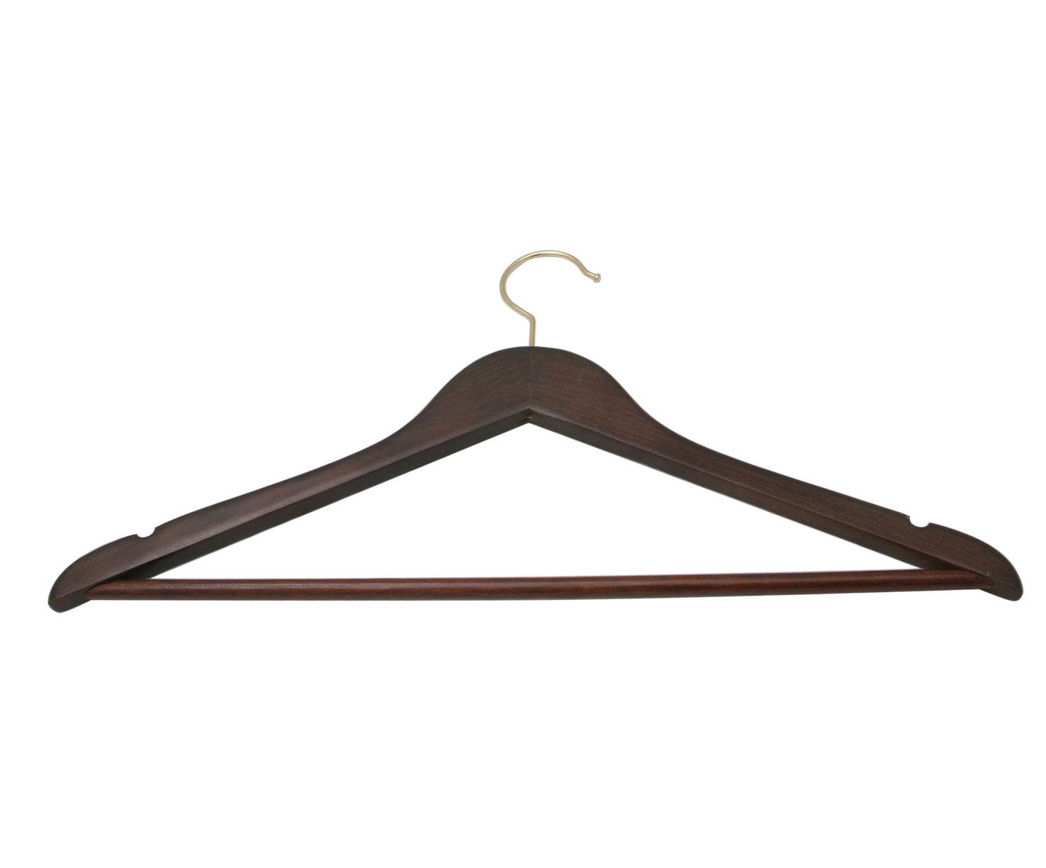 WALNUT WOOD TROUSER HANGER W/BRASS HOOK