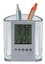 Transparent And Silver Pen Holder With Alarm Clock, Calendar, An