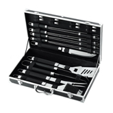 21Pc Ss And Black Braai Set In Aluminium Case, Includes Tongs