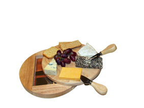 5Pc Stainless Steel Cheese Knife Set With Rubber Wood Board In P