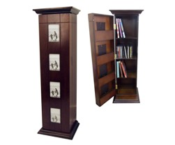BLACK WOOD CD CABINET W/ 4 PHOTO DOOR