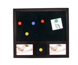 Black Wood Magnetic Notice Board W/