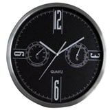 Stainless Steel & Black Face W/Station Wall Clock Sweep Movement