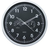 Silver & Black Face Weather Station Wall Clock - Sweep Movem