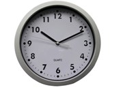 Silver & White Face Wall Clock (20Cm)