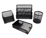 Black Mesh 4 Piece Stationery Set W/