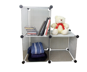 Three Silver Mesh Stackable Storage