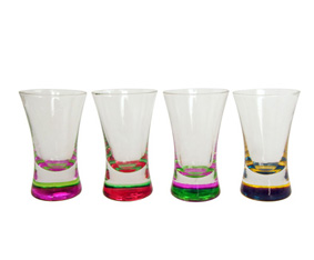 Set Of 4 Shooter Glasses W/Coloured