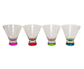 4 Aperitif Cocktail Glasses W/Colour