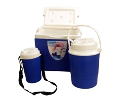 3Pc Red & White Cooler Box Set (9L Box,2L Jug, 750Ml Jug)