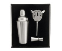 3Pc Stainless Steel Cocktail Shaker Set In Presentation Box; Coc
