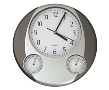 Silver And Dark Grey Weather Station Wall Clock (32Cm)