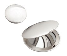 Round Matt Silver Double Compact Mirror Simple (Ø6Cm)