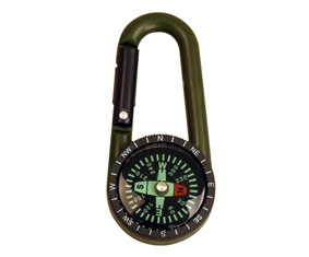 Green Carabiner Clip Compass (7X5Cm)