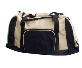 Two Tone Beige+Black Bag W/4 Compartments, Carry Handle & Sh
