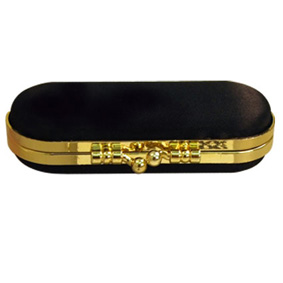 Lipstick Case Black Satin With Gold Trims (9.5X4Cm)