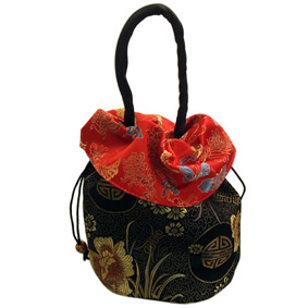 Black/Red Oriental Drawstring Bag (33X18Cm)